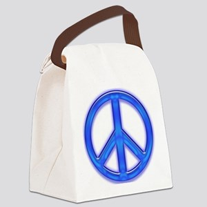 peaceGlowBlue Canvas Lunch Bag