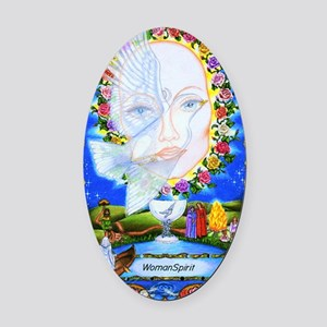 woman Oval Car Magnet