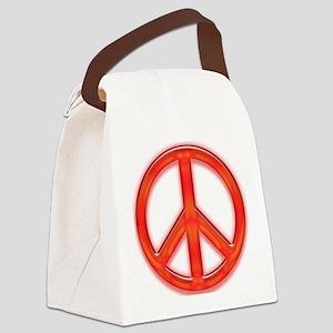 peaceGlowRed Canvas Lunch Bag