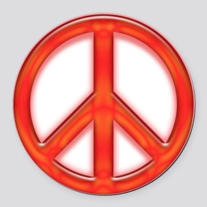 peaceGlowRed Round Car Magnet