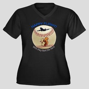 Happy flight Women's Plus Size Dark V-Neck T-Shirt