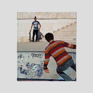 Skatboarding, Lyon, France Throw Blanket