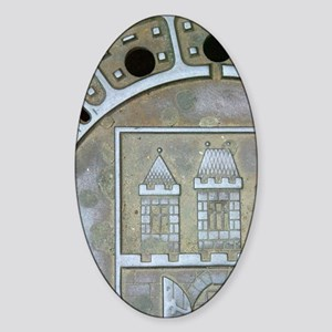 Sewer cover with painting, Old Town Sticker (Oval)