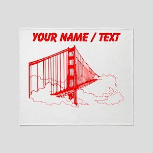 Custom Red Golden Gate Bridge Throw Blanket