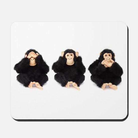 Hear, See, Speak No Evil Monkey Mousepad