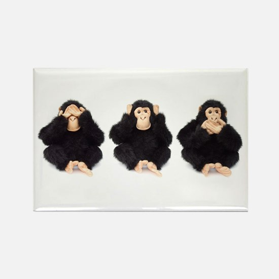 Hear, See, Speak No Evil Monkey Rectangle Magnet