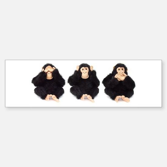 Hear, See, Speak No Evil Monkey Bumper Bumper Bumper Sticker