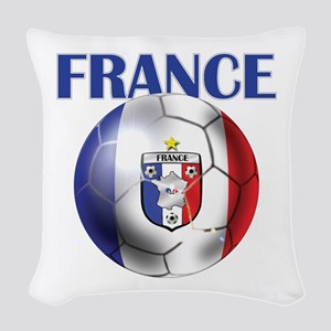 France Soccer Football Woven Throw Pillow
