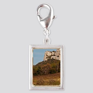 Graphic pattern vineyard and Silver Portrait Charm