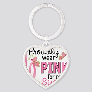 - Pink for My Sister Heart Keychain
