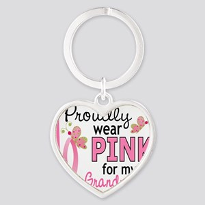 - Pink for My Grandmother Heart Keychain