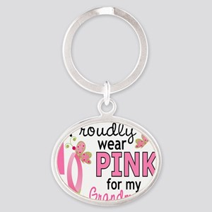 - Pink for My Grandmother Oval Keychain