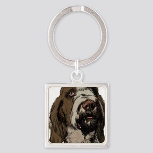 Brown Roan Spinone Headpiece Square Keychain