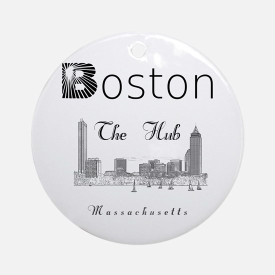 Boston_12_12_Wmn_plusv_Skyline_TheH Round Ornament