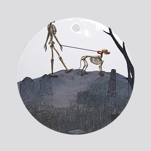 skeleton dog person Round Ornament