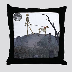 skeleton dog person Throw Pillow