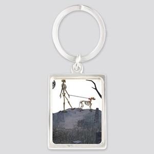 skeleton dog person Portrait Keychain