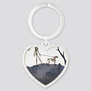skeleton dog person Heart Keychain
