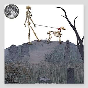 "skeleton dog person Square Car Magnet 3"" x 3"""
