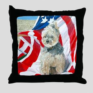 MouseLite Flag Morkie Throw Pillow