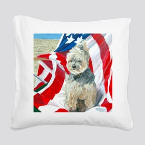 MouseLite Flag Morkie Square Canvas Pillow