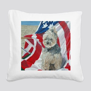 8x10 FlagMorkie Square Canvas Pillow