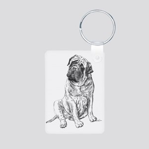 Mastiff Sitting Aluminum Photo Keychain