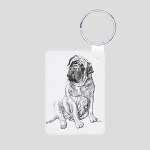 Mastiff Sitting Aluminum Photo Keychain