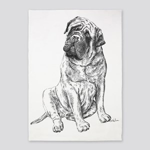 Mastiff Sitting 5'x7'Area Rug