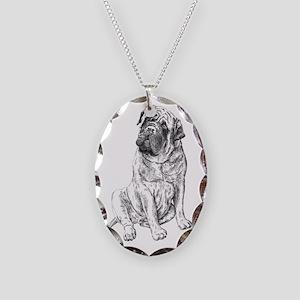 Mastiff Sitting Necklace Oval Charm