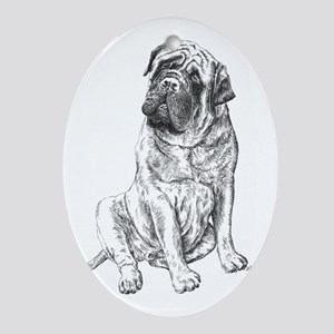 Mastiff Sitting Oval Ornament