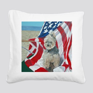 SQ FlagMorkie Square Canvas Pillow