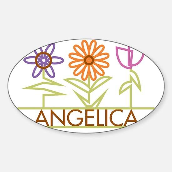 ANGELICA-cute-flowers Sticker (Oval)