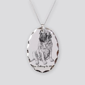 Mastiff You Talking To Me Necklace Oval Charm