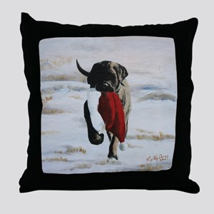 Brindle Puppy With Santa Hat Throw Pillow