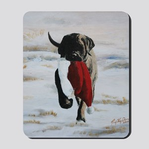 Brindle Puppy With Santa Hat Mousepad