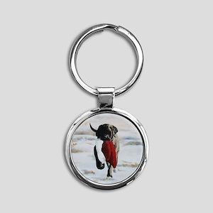Brindle Puppy With Santa Hat Round Keychain