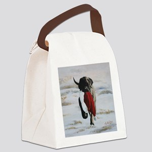 Brindle Puppy With Santa Hat Canvas Lunch Bag