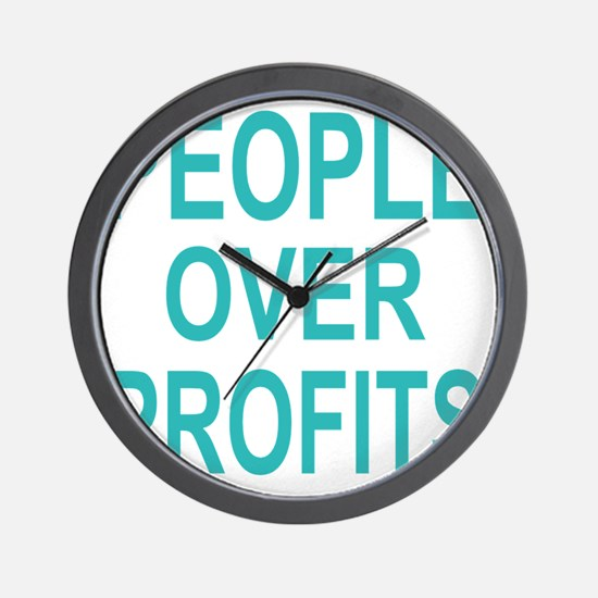 people over profits teal Wall Clock