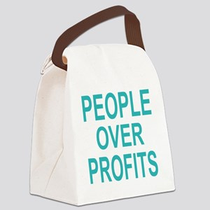 people over profits teal Canvas Lunch Bag