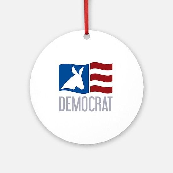 Democrat Donkey Flag Round Ornament