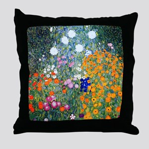 iPad Klimt Flowers Throw Pillow