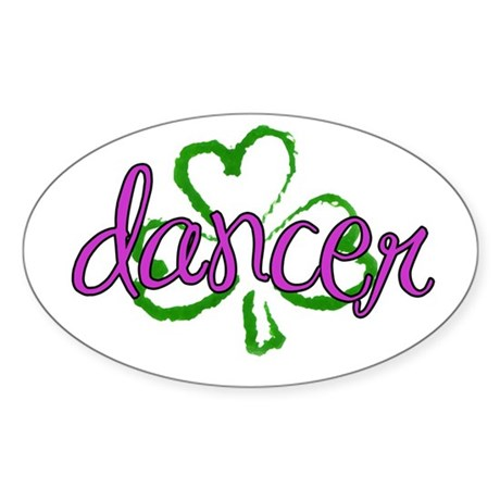 Sassy Shamrock Irish Dancer Oval Sticker
