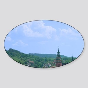 Historical buildings with red roof  Sticker (Oval)