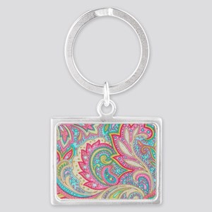 Toiletry Pink Paisley Landscape Keychain