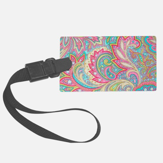 Toiletry Pink Paisley Large Luggage Tag