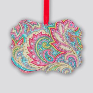 Toiletry Pink Paisley Picture Ornament
