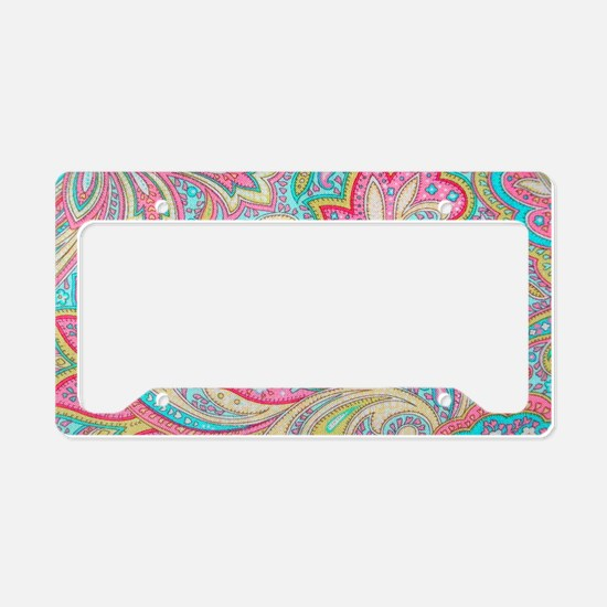 Toiletry Pink Paisley License Plate Holder