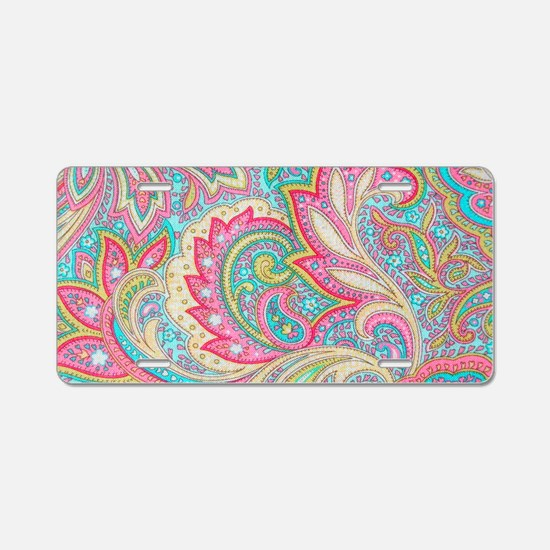 Toiletry Pink Paisley Aluminum License Plate