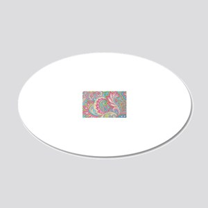 Toiletry Pink Paisley 20x12 Oval Wall Decal